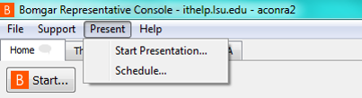 Start Presentation option in Present menu
