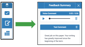 Feedback summary button and the feedback summary screen