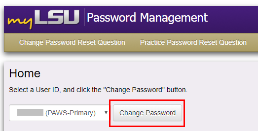 Selecting User ID and the Change password button