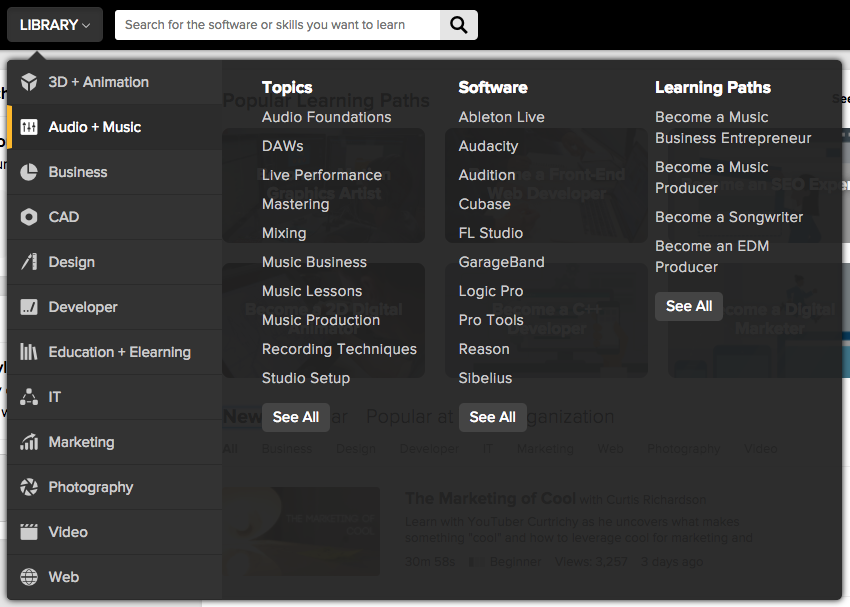 Library Menu with Audio + Music tab selected at the left, and Topics, Software, and Learning Paths columns on the right