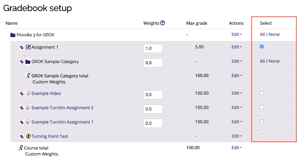 Select option in the Gradebook setup window