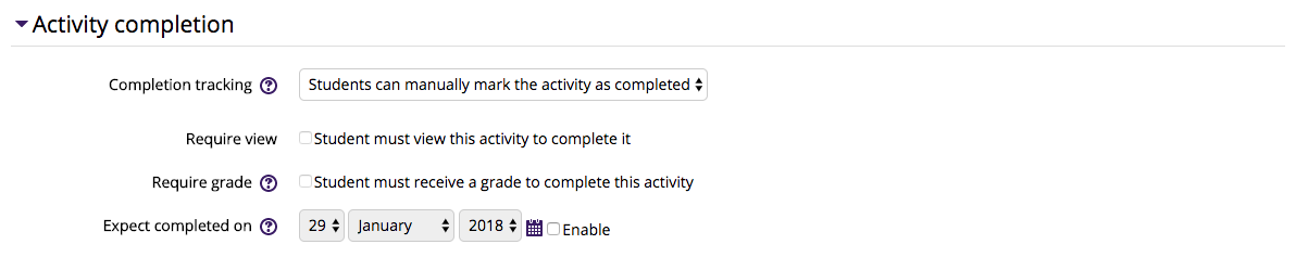 Activity Completion Settings