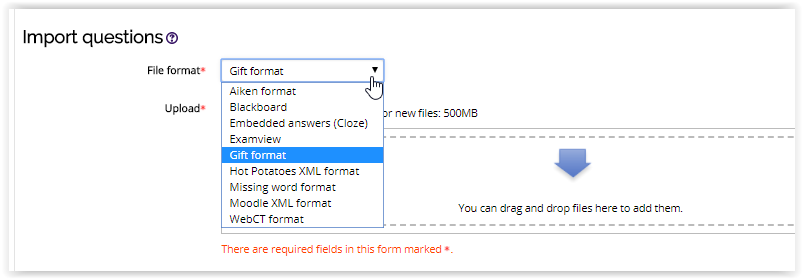 importing question to lesson