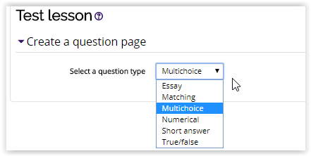 question pages types