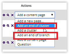 ending a cluster or a branch