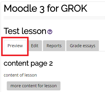 the preview tab in lessen reports on moodle