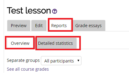 the reports tab, overview tab, and detailed statistics tab selected in the lesson report