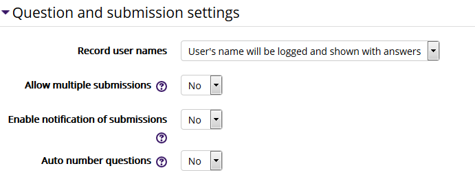 Feedback Question and Submission Settings