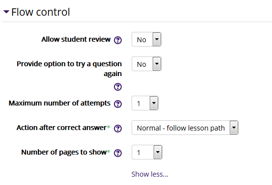 Lesson flow control settings