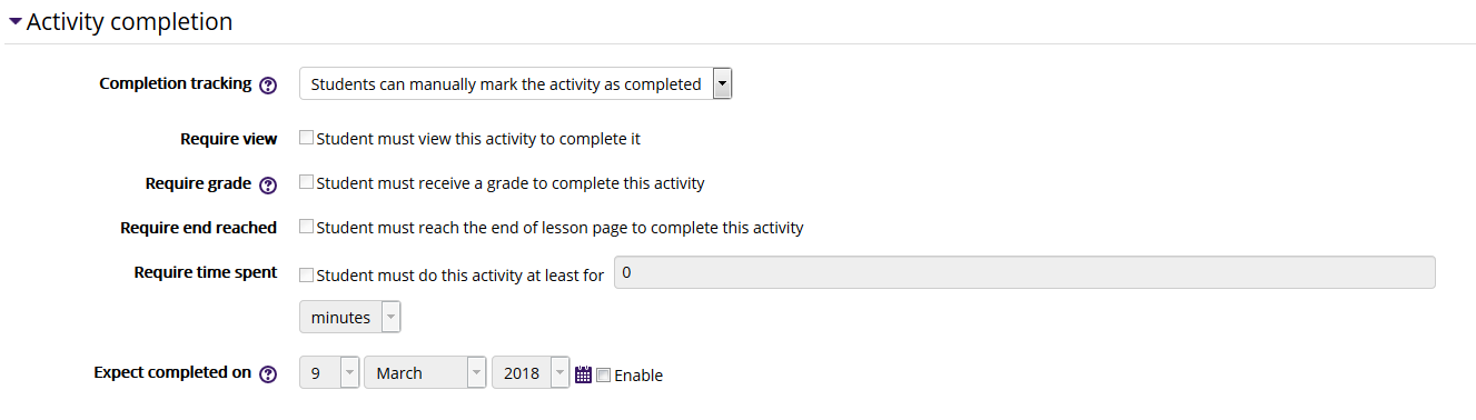Lesson settings/activity completion settings in moodle 3
