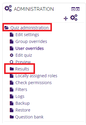 Administration box with the quiz administration and results sections highlighted
