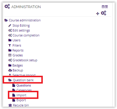 import questions in admin block moodle