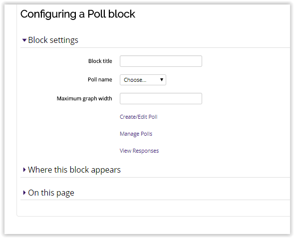configuring a poll block.