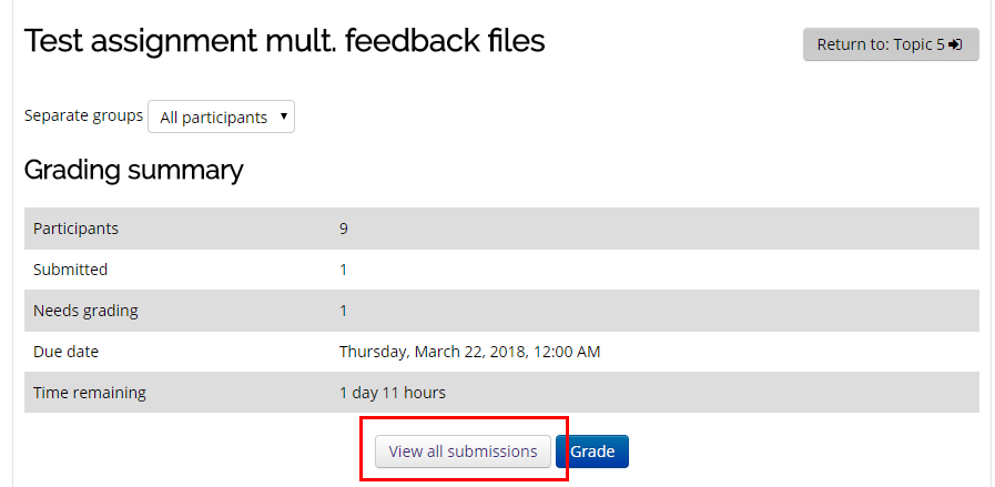 Assignment window with view all submissions button highlighted