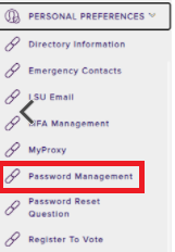 Password Management in Personal Preferences drop down