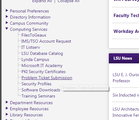 Problem Ticket Submission link in my LSU
