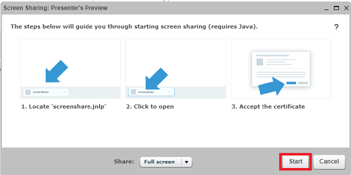 Screen sharing startup window