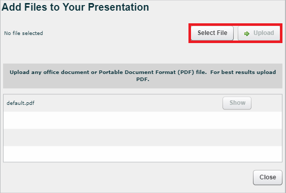 Add Files to Your Presentation window