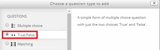 choose a question type tab
