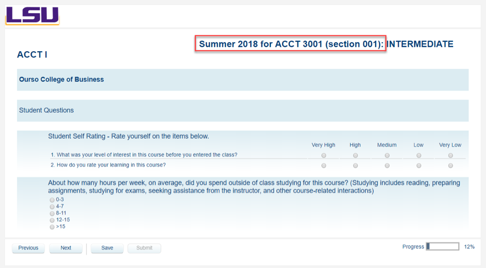 Course and Section header highlighted with course evaluation below