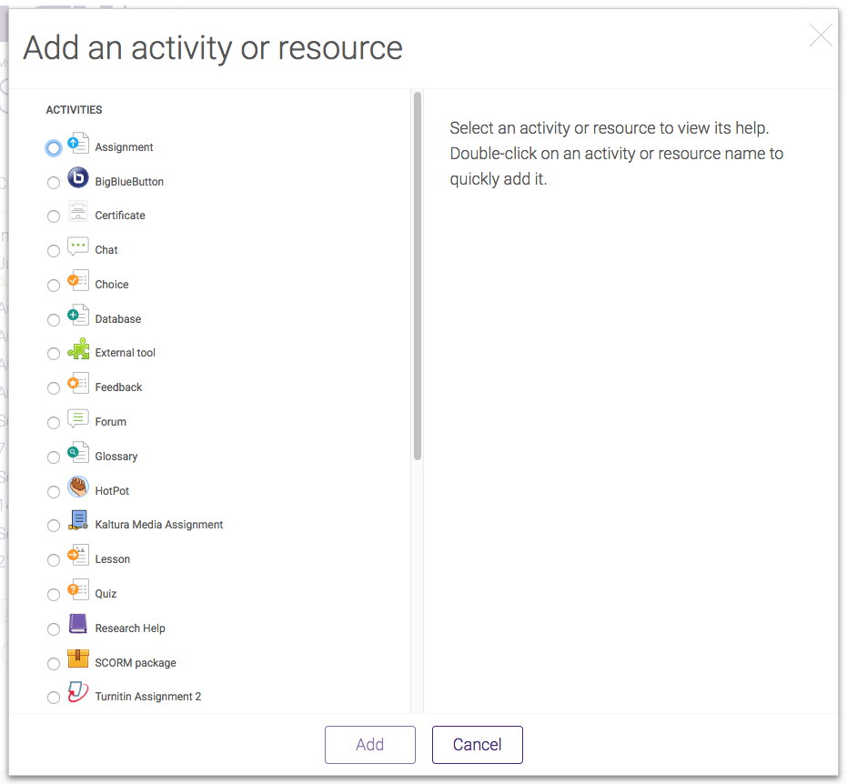 Add an Activity or Resource window