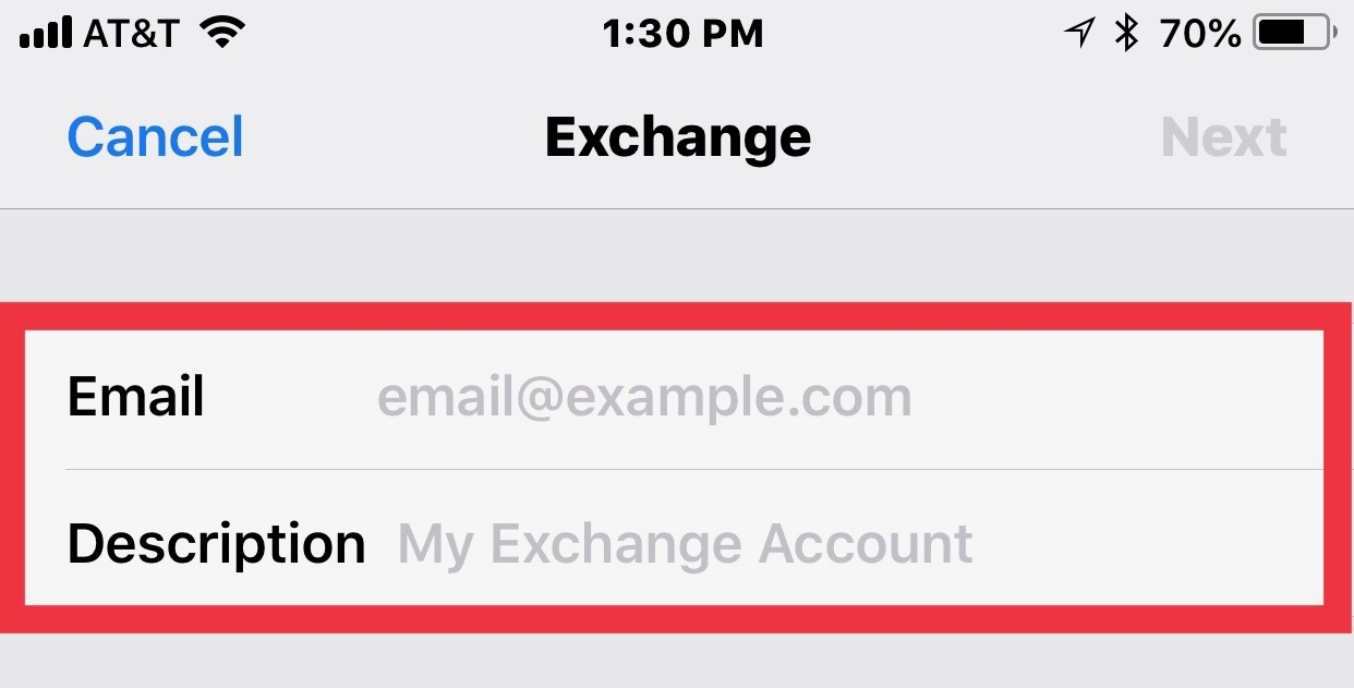 Exchange settings page with email and description boxes highlighted