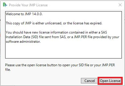 Open License button selected