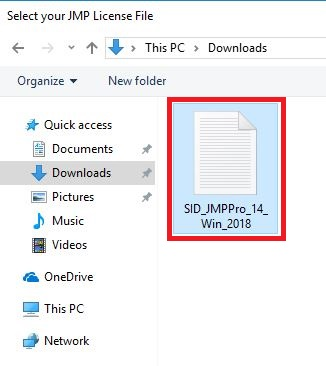 Select your JMP License File SID_JMPPro_14_Win_2018 selected