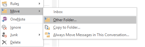 "Drop-down menu with ""other folder"" highlighted under ""move"""