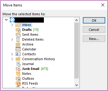Window with possible folder destinations displayed.