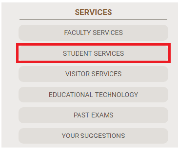 The student services button in the services block is highlighted