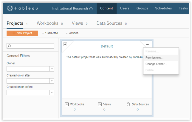 tableau server projects window