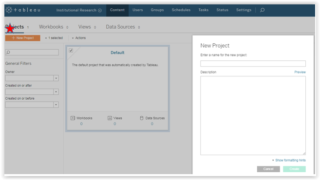 creating new project in tableau server