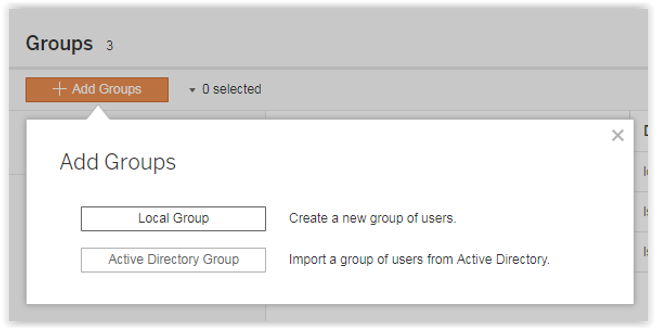 adding group using tableau server