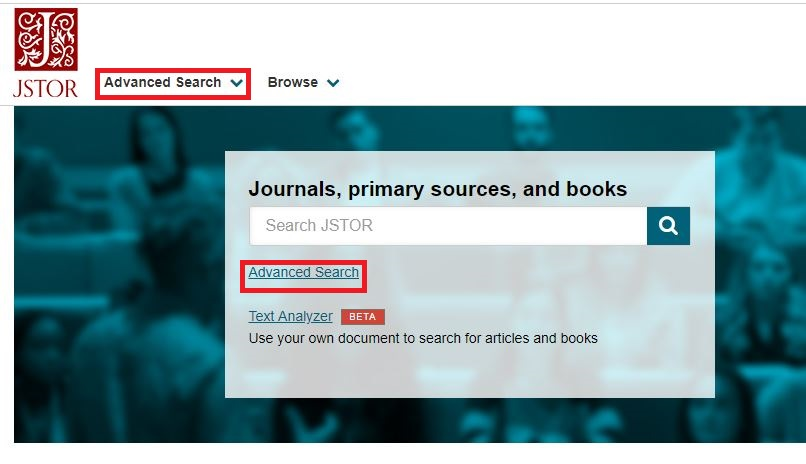 JSTOR Homepage, advanced search selected