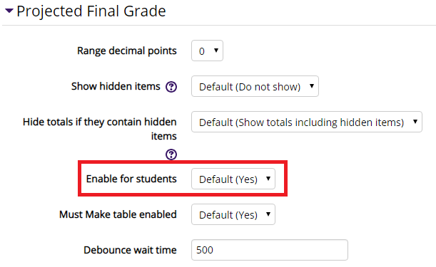 The enable for students option in the projected final grade menu
