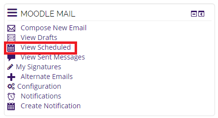 Moodle Mail block, view scheduled selected