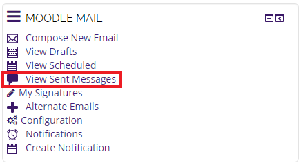 moodle mail block, view sent messages selected