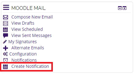 moodle mail block, create notification highlighted