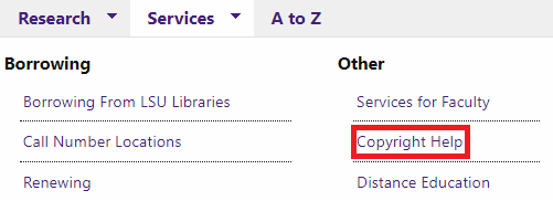 Under the services tab, copyright help button is highlighted