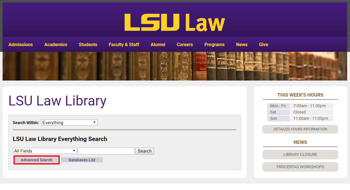 The LSU Law Library home page with Advanced Search highlighted