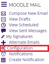 moodle mail block with configuration button highlighted