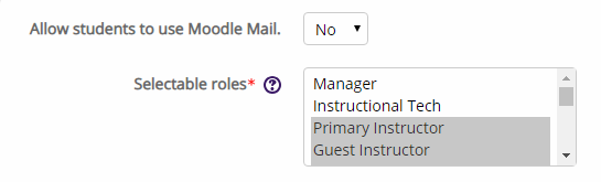 moodle mail configuration settings