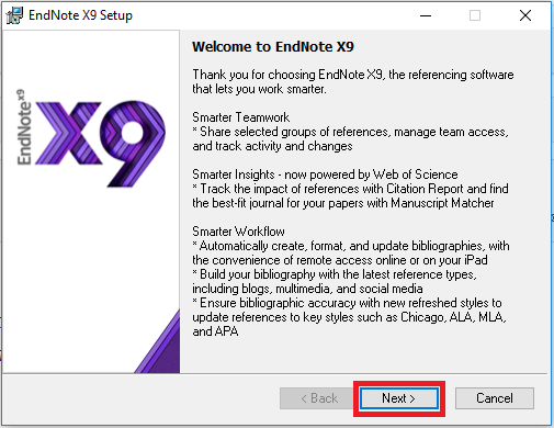 Endnote X9 installer window 1, Next highlighted