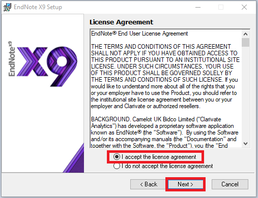 Endnote x9 installer license agreement window, accept and next highlighted