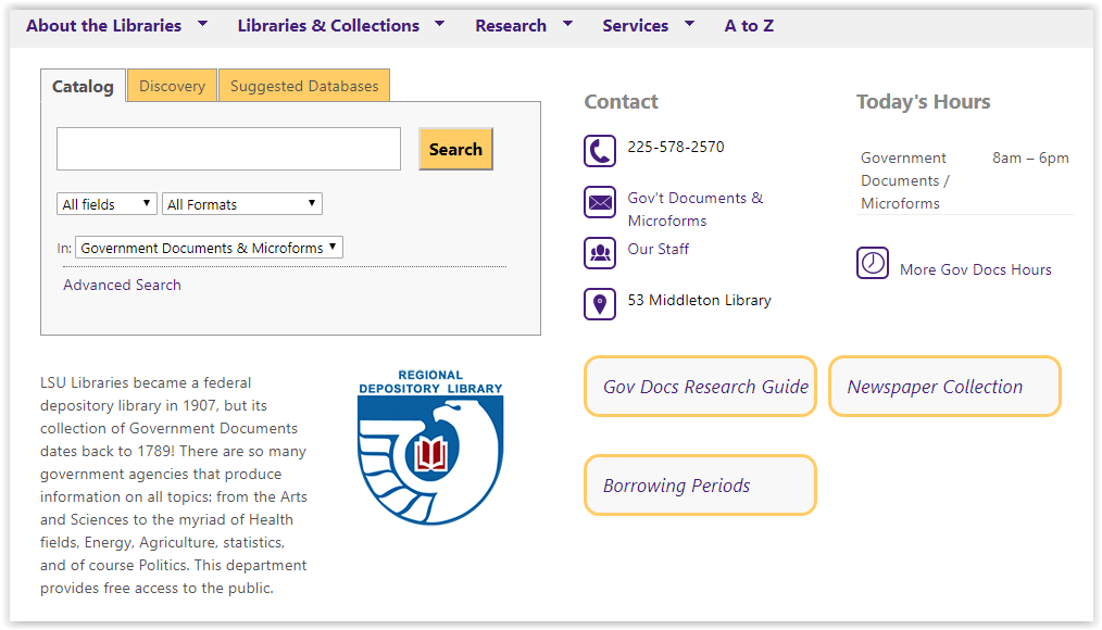 Government Collections webpage