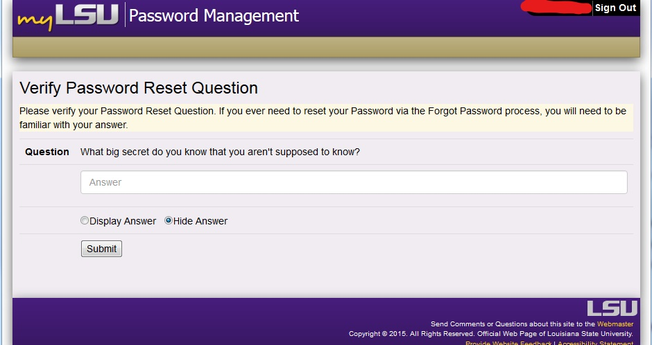 updated password option window