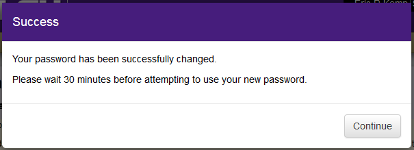 Successful password change screen