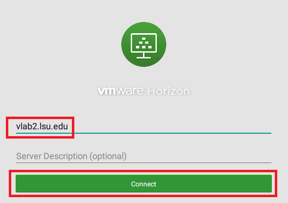 vmware horizon server addition screen