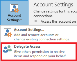 Delegate Access option selected in the Account Settings menu in the File Tab